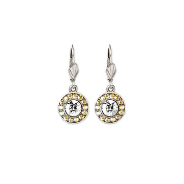 Anne Koplik Round Bulleye Drop Earrings - Crystal/Gold/Silver