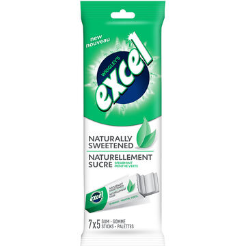 Excel Naturally Sweetened Gum - Spearmint - 7 pack