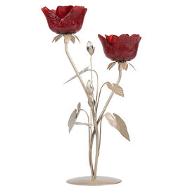 London Drugs Glass Candle Holder - 2 Red Roses