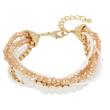 Haskell Four Row Beaded Bracelet - Neutral/Gold