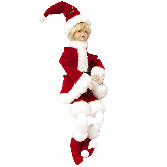 Christmas Forever Posable Boy in Santa Suit - 18in - XM-VR8000SP