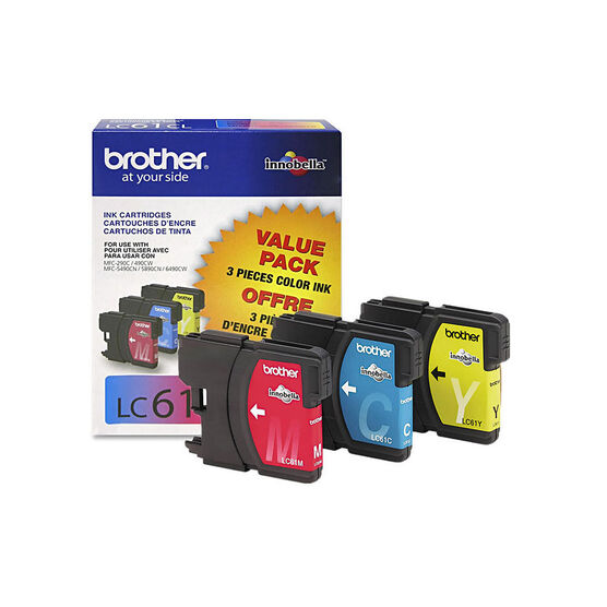 Brother LC61CL 3 Pack Colour Ink Cartridges - Cyan / Yellow / Magenta - LC613PKS