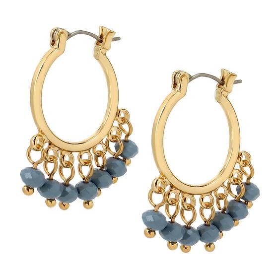 Haskell Drop Hoop Earrings - Grey/Gold