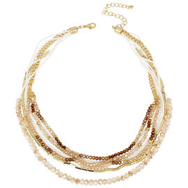 Haskell Layered Beaded Necklace - Neutral/Gold