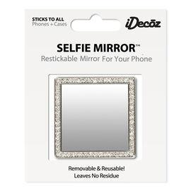 iDecoz Cubic Zirconia Square Selfie Mirror - Silver
