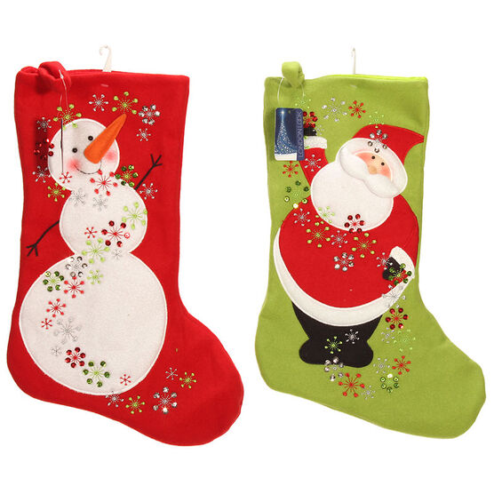 London Look Jingle Jolly Stocking - Assorted - 21inch