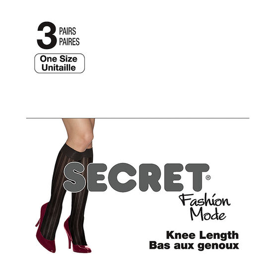 Secret Knee Length - Sheer - One Size - Black