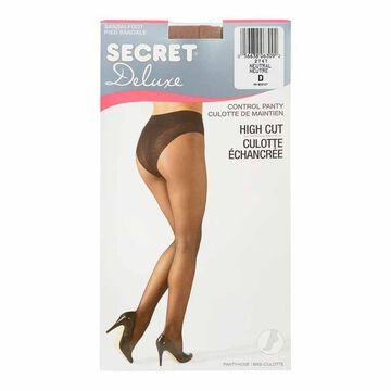 Secret Deluxe High Cut Lace Panty Hose Control Top - D - Neutral