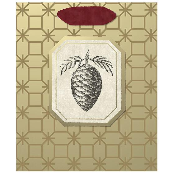 Hallmark Pine Cone Gift Bag - Small - Elegant Golds - 0299XGB1213