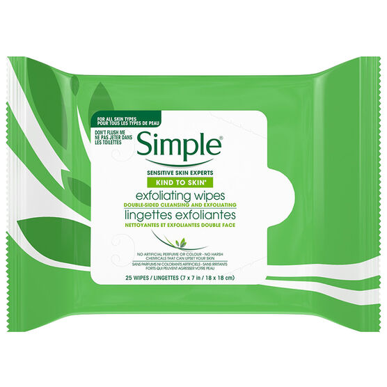 Simple Kind To Eyes Exfoliating Facial Wipes - 25s