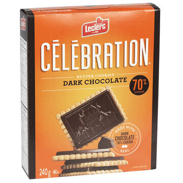 Leclerc Celebration Butter Cookies - Dark Chocolate - 240g