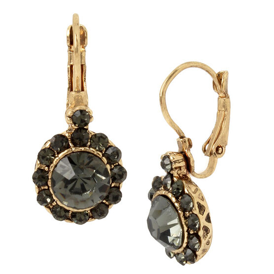 Haskell Crystal Drop Earrings - Grey/Gold