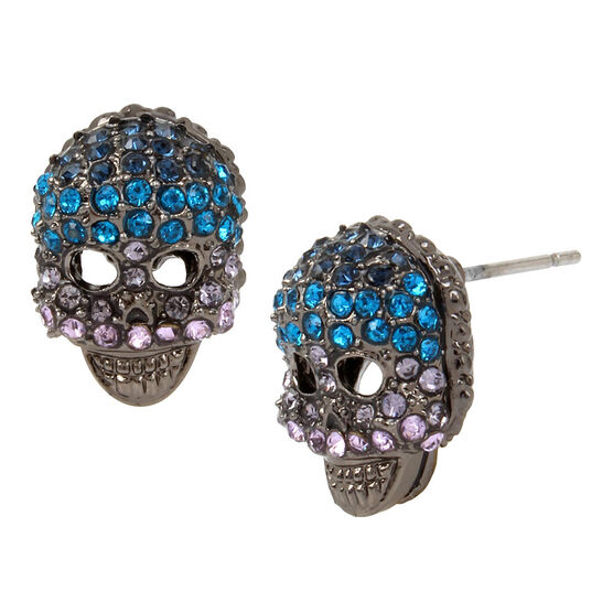 Betsey Johnson Garden of Excess Skull Stud Earrings - Multi/Hematite
