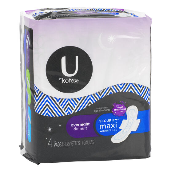 U by Kotex Maxi Overnight with Wings - 14's