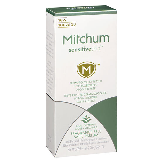 Mitchum Sensitive Skin Invisible Solid Anti-Perspirant - Fragrance Free - 76g