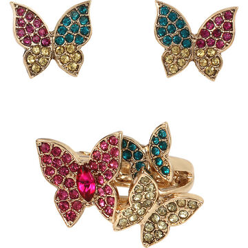 Betsey Johnson Butterfly Ring and Earrings Set - Multi/Gold