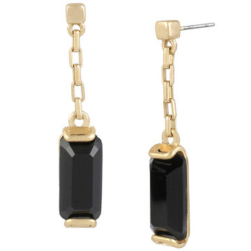 Kenneth Cole Linear Earrings - Jet/Gold Plated