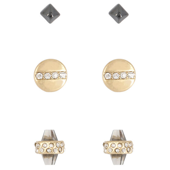 Kenneth Cole Two Tone Stud Earring Trio - Crystal