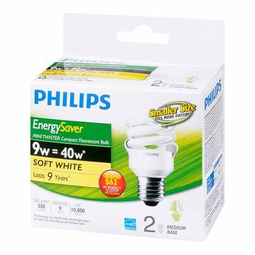 Philips Minitwister 9w CFL Bulb - Soft White - 2 pack