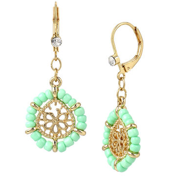 Haskell Beaded Drop Earrings - Mint/Gold