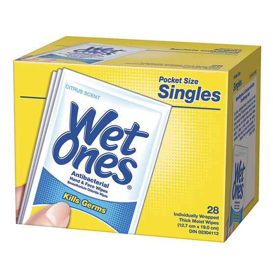Wet Ones Anti-Bacterial Wipes Singles- Citrus - 28's