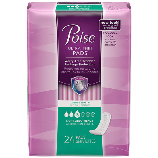 Poise Ultra Thin Long Pads - Light Absorbency - 24's
