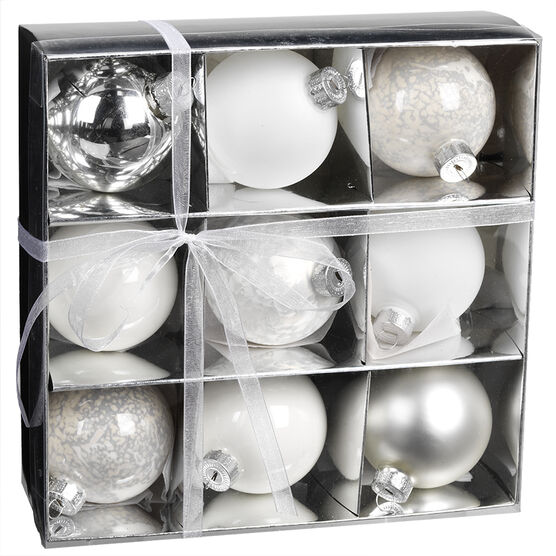 Christmas Glass Ball Ornaments - 9 pieces - White/Silver