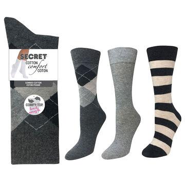 Secret Cotton Comfort Fashion Socks Crew Cut - Stripe - 3 pair