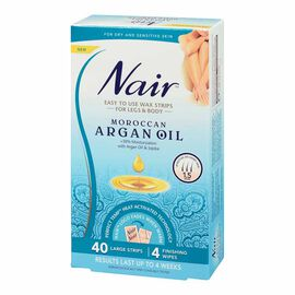 Nair Body & Leg Wax Strips - Moroccan Argan Oil - 40's