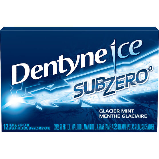 Dentyne Ice Sub Zero Gum - Glacier Mint - 12 pieces
