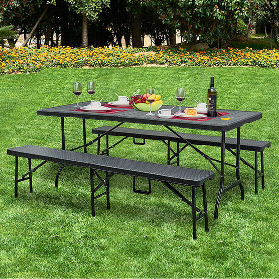 London Drugs Folding Table with Two Benches - Black