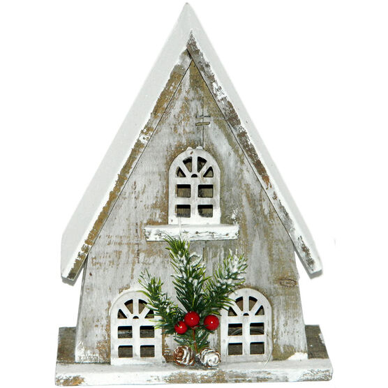 Christmas Forever Wooden House - 11in - Grey - XM-ZG1233