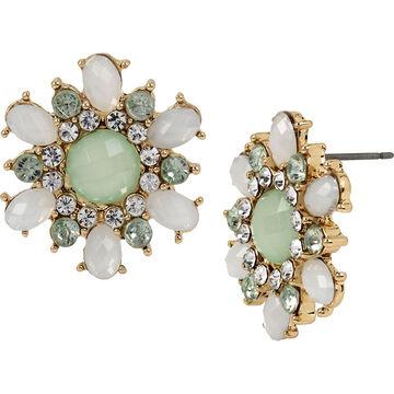 Haskell Crystal Flower Earrings - Mint/Gold