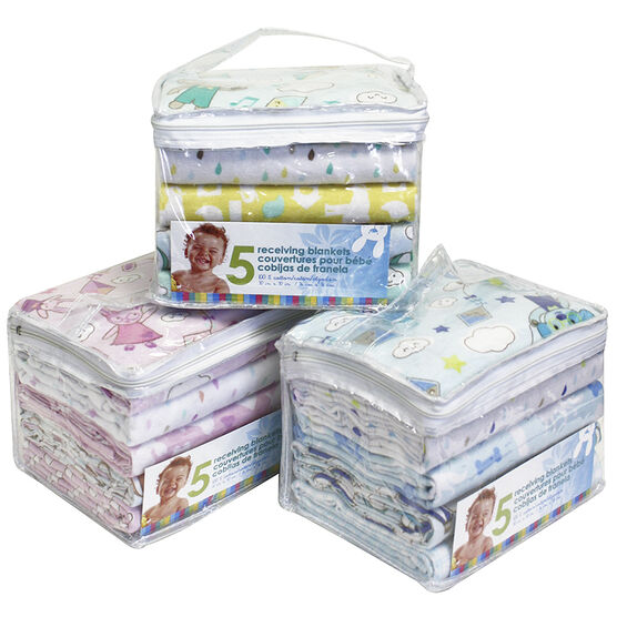 Honey Bunny Receiving Blankets - 5 pack - B1101SP - Assorted
