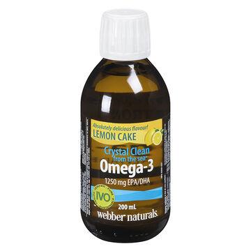 Webber Naturals Crystal Clean Liquid Omega-3 - 1250mg - Lemon Cake - 200ml