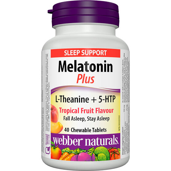 Webber Melatonin Plus with L-Theanine + 5-HTP - Tropical Fruit - 40's
