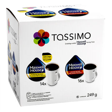 Tassimo Single Use Coffee Bundle Pack - Maxwell House - 30's