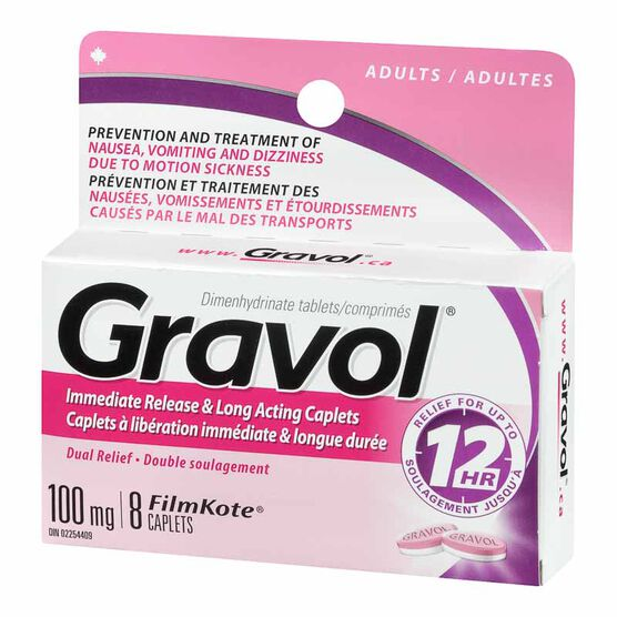 Gravol Dual Relief Long Acting Caplets - 8's