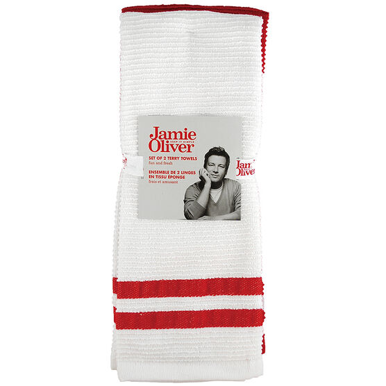 Jamie Oliver Ribbed Terry Towel - Berry - 2 pack