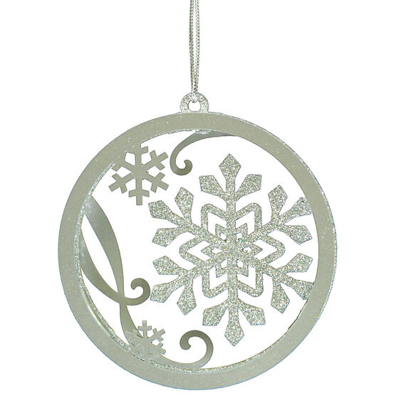 Christmas Forever Snowflake Wreath Ornament - 4in - Silver - XM-MS1334