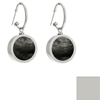 Merx Reversible Circle Resin Shell Drop Earrings - Charcoal/White