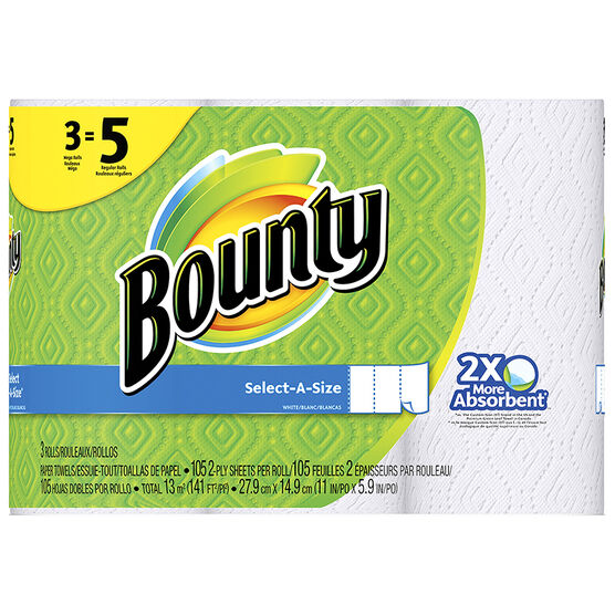 Bounty Paper Towels - Select-A-Size - 3's/117 Sheets