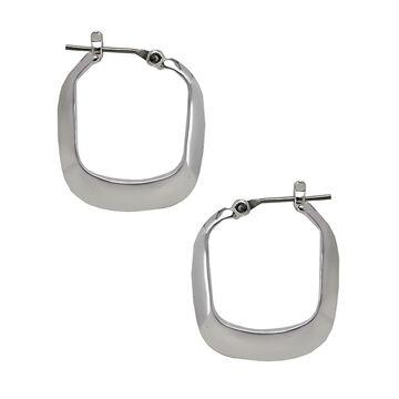 Kenneth Cole Small Rectangle Shiny Hoop Earrings - Silver Tone