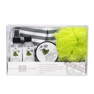 The Bath Republic Cosmetic Bag Set - Sage & Eucalypt - 5 piece
