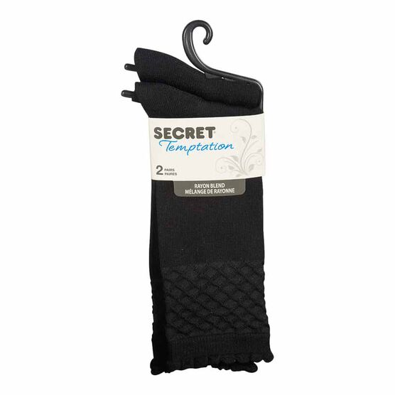 Secret Temptation Crew Socks - Fan Texture - Black - 2 Pairs