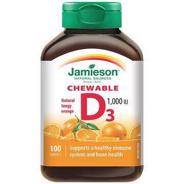 Jamieson Chewable Vitamin D 1,000 IU - Natural Tangy Orange - 100's