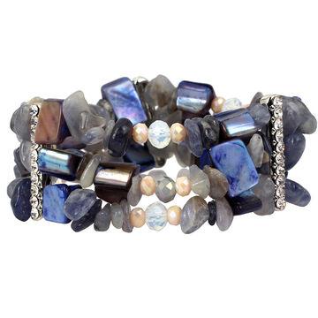Haskell Three Row Bead Stretch Bracelet - Blue/Tonal