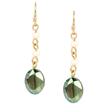 Haskell Beaded Drop Earrings - Olive/Gold