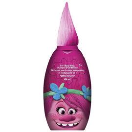 DreamWorks Trolls 3 in 1 Body Wash Shampoo & Conditioner - Strawberry Banana - 414ml