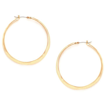 Kenneth Cole Shiny Textured Hoop Earrings - Gold Tone